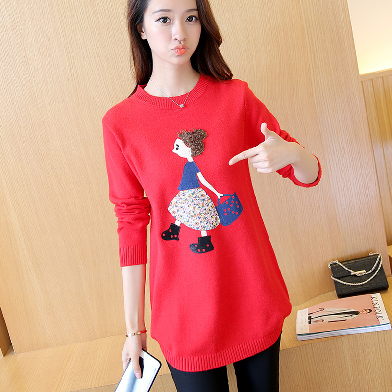 autumn and winter Korean version of the new version of the A women's embroidered embroidered women's long sweater F1382