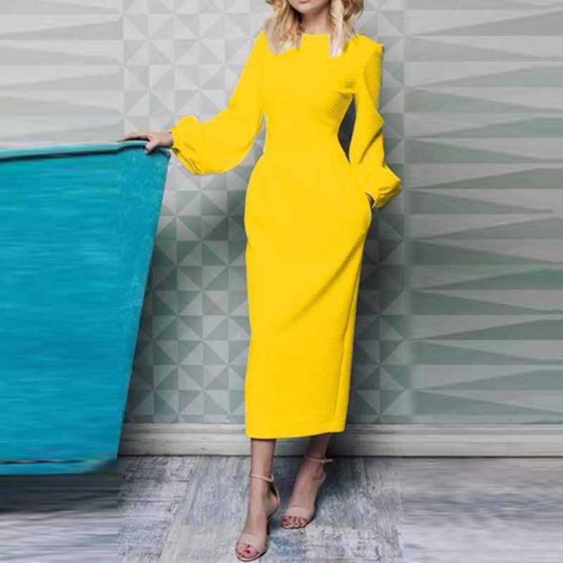 À manches longues bureau dames élégant robe blanche automne lanterne manches moulante taille haute jaune noir femmes mince robe crayon