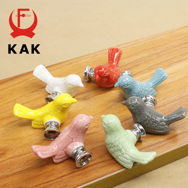 KAK Ceramic Peace Dove Drawer Knobs 3D Cartoon Bird Cabinet Cupboard Handles Novelty Creative Fashion Furniture Handles Hardware