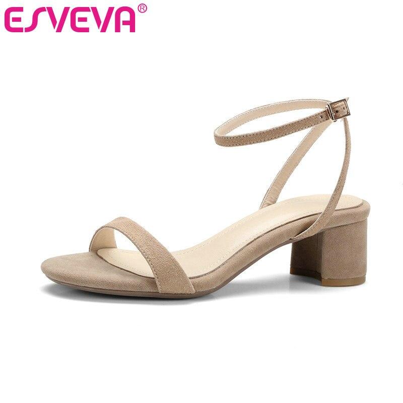 ESVEVA 2017 Western D'été Kid Suede Chaussures Abricot Carré Med talon Femmes Pompes Boucle Sangle Peep Toe Loisirs Chaussures Taille 34-40