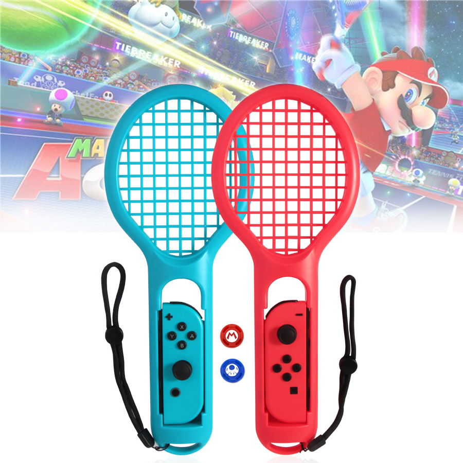1 Pair ABS Tennis Racket Handle Holder Gamepad For NintendoSwitch Joy-Con Tennis ACES Game Player With 2 Analog Caps
