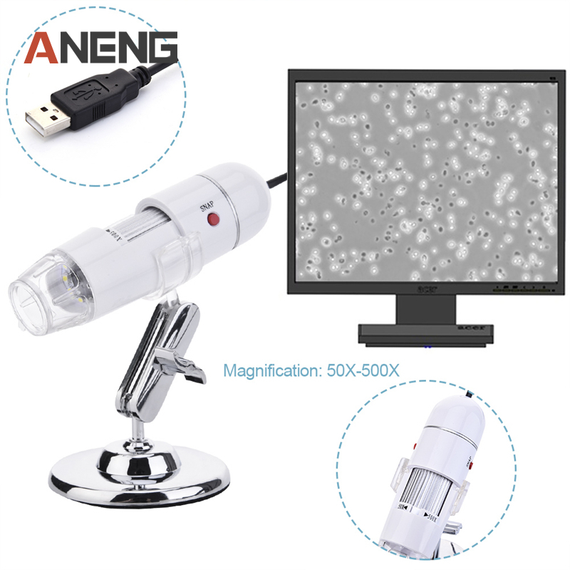 50X to 500X USB Digital Electronic Microscope Magnifier led Camera White Magnifying Glass Glasses Desk Loupe Lamp Practical 50X microscope with lcd screen magnifying 5x 50x 500x digital camera microscope with tv av interface