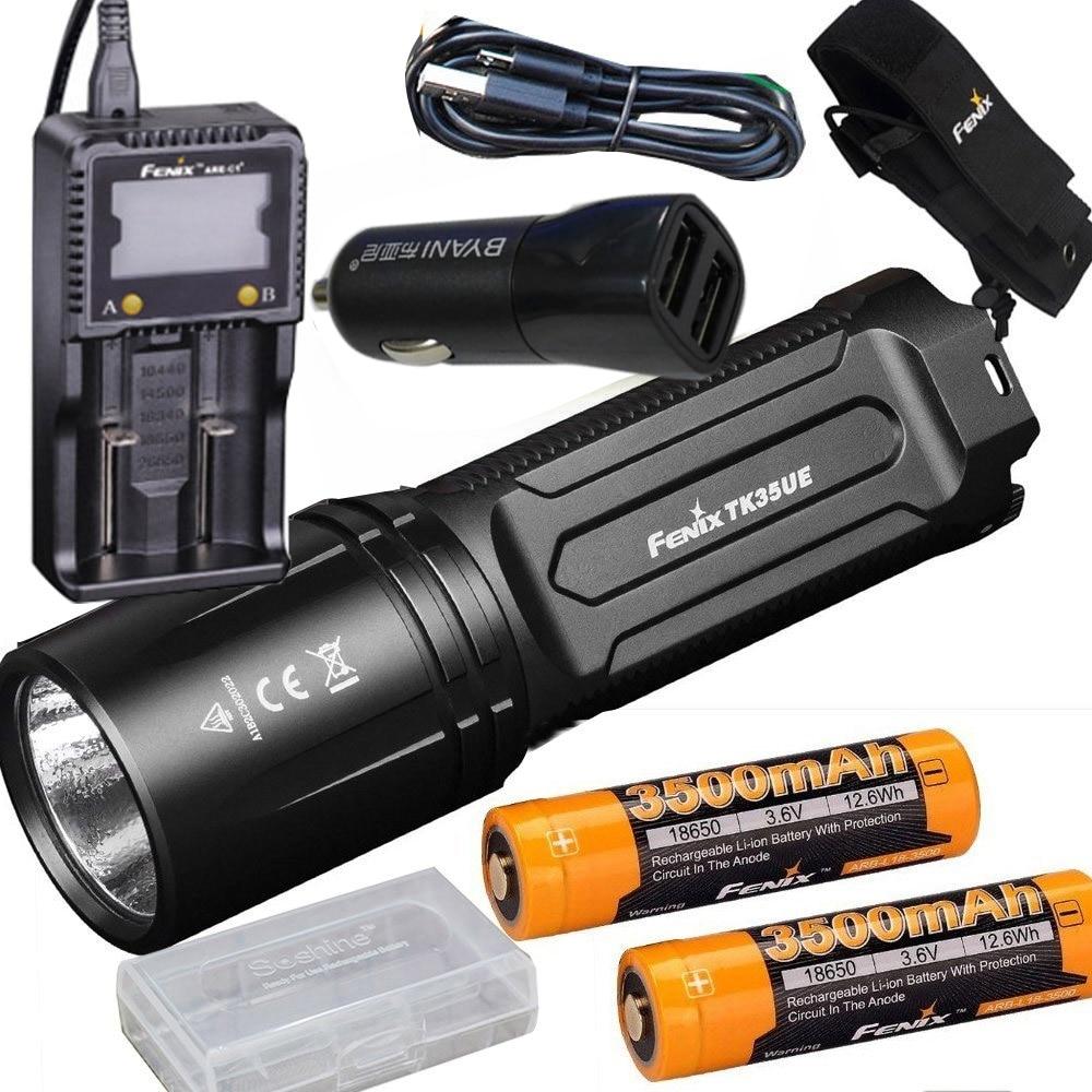 FENIX TK35 UE 2018 3200 Lumen LED USB rechargeable Tactical Flashlight +3500mAh battery,ARE-C1+ charger,holster,car charger fenix hp25r 1000 lumen headlamp rechargeable led flashlight