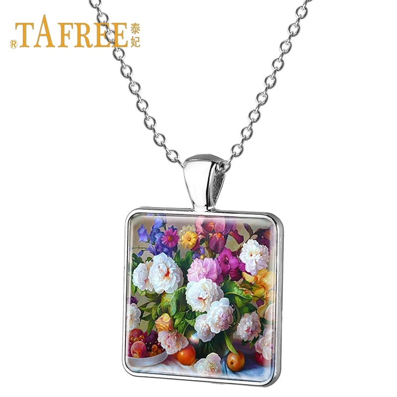 TAFREE Charm Flower Necklace Sunflower Rose Sun Flower Phalaenopsis Pattern Square Pendant Necklace For Lover Gift Jewelry E214