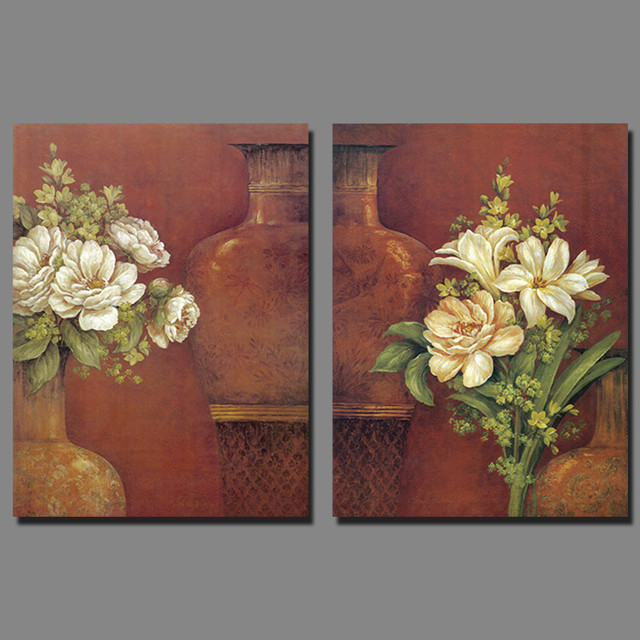 Retro Flower Arrangement 2pcs Set White Flowers Decoration Vase Canvas Painting Wall Art Living Room