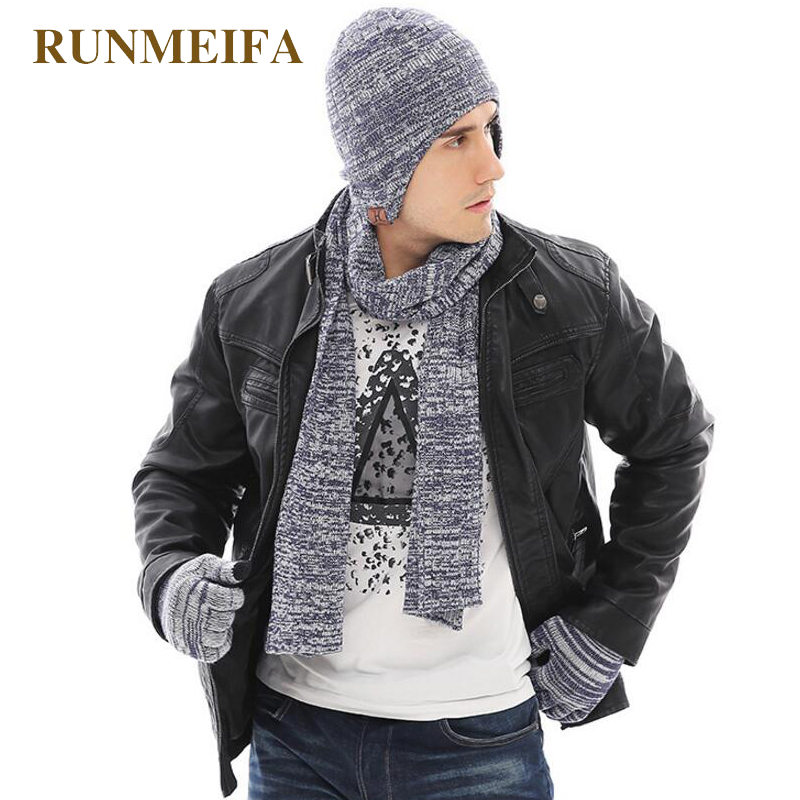 2018 New Arrival Product Men's  Winter Warm Hat&scarf&Touchscreen Gloves  Gifts In Stock