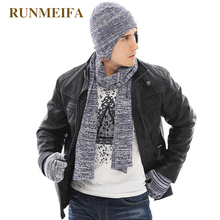 2018 New arrival product Mens  winter warm Hat&scarf&Touchscreen gloves  Gifts in stock