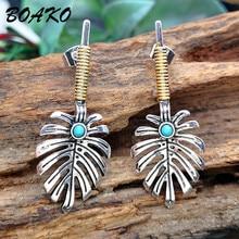 купить Tropical Leaf Earrings For Women Boho Ethnic Jewelry Green Stone Turquoises Earrings Statement Drop Dangle Earrings Party Gifts дешево