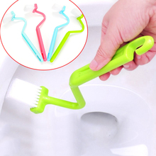 1Pc S Shape Toilet Cleaning Brush Portable Computer Brush Scrubber S-type Cleaner Clean Brush Bent Bowl Handle