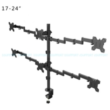 "MD6884 Desktop Clamping Full Motion 360 Degree 3 4 6 Monitors Holder 10"" 27""LCD LED Monitor Mount Arm Loading 9.9kgs Each Head"