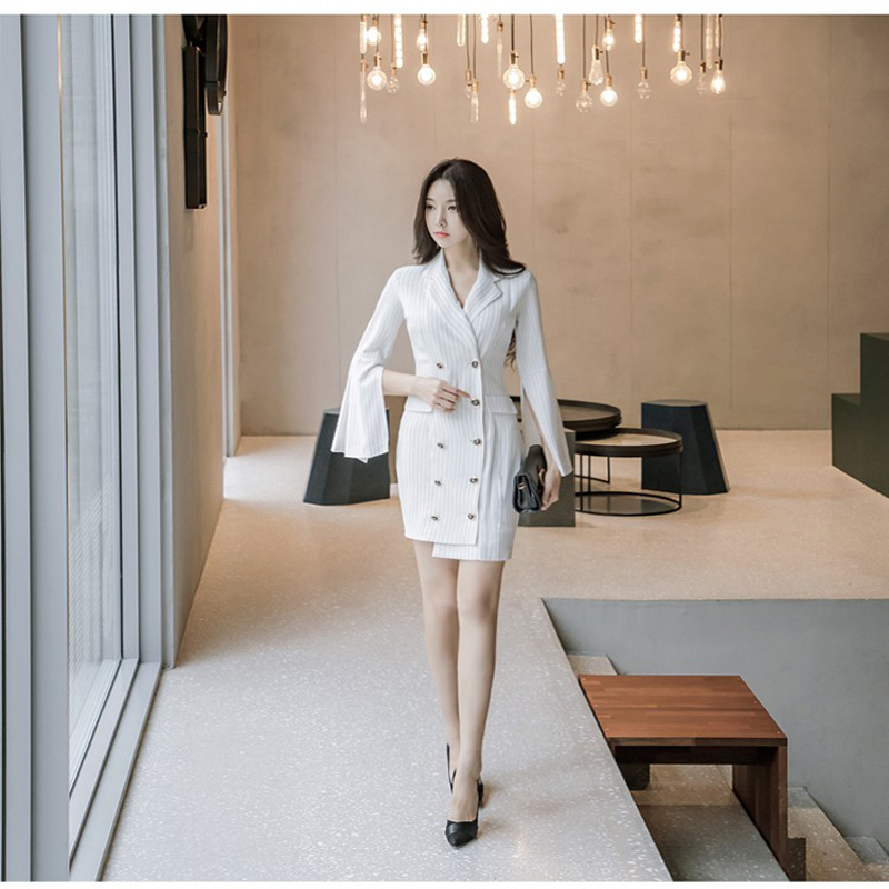 Ladies New Fashion elegant Dress Women noble slim stripe flare sleeve one-piece Dress female