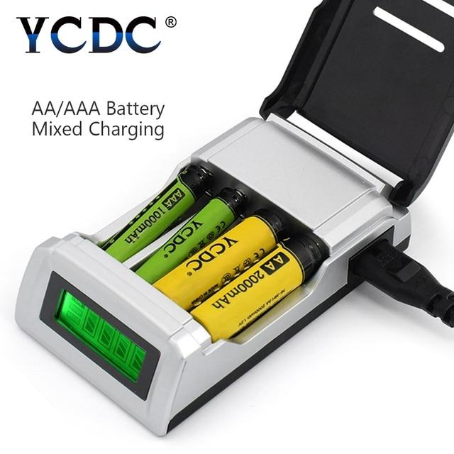 ycdc universal aa aaa charger 4 slots lcd display smart
