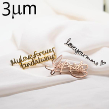 3UMeter Personalized name brooch stainless steel custom wedding gift  silver plated 18Kgold