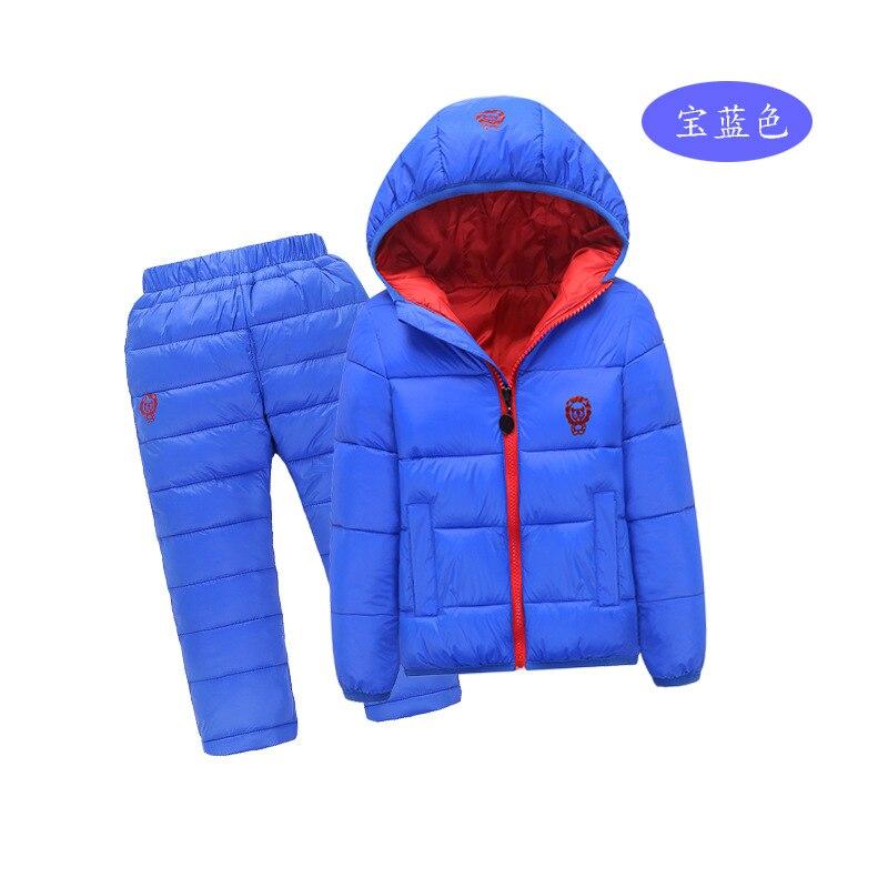 Children Set Boys girls Clothing sets winter 1-7year hoody Down Jacket + Trousers Waterproof Snow Warm kids Clothes suit 6 color children clothing sets boys girls