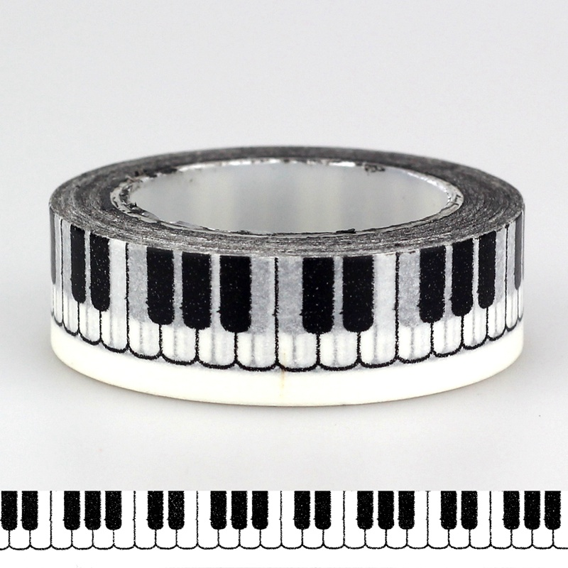 15mm *10m 1pc Kawaii Black & White Piano Keys Patterned Washi Tape,Adhesives Tape Scrapbooking Supplies Craft & Hobby Supplies