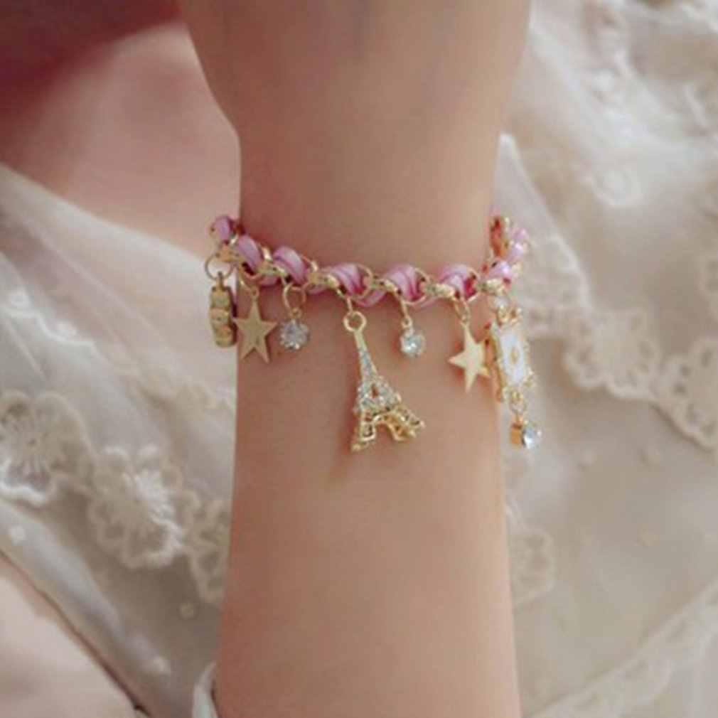 Nowe dziewczyny urocza gwiazda pięcioramienna bransoletka ze stopów Charms koreański moda kobiety bransoletki stylowa biżuteria akcesoria urodziny prezenty