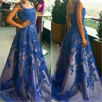 Royal Blue Beaded Prom Dresses with Appliques Formal Evening Party Gowns 2019 Long Dress Handwork Vestidos de Fiesta