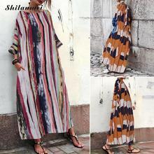 Colorful Striped Bohemian Dress Plus Size Women 2019 Fashion O-Neck Long Maxi Dress Ladies Pocket Loose Long Beach Party Dress plus multi striped pocket side dress
