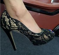 Free Shipping Black Lace Peep Toe High Heels Dress Pumps 2017 Spring Summer Sexy Heels Plus