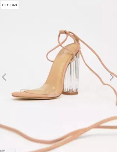 Up Spitze Offene Frauen Pvc Party Gladiator Beige Schuhe Sandalen Mode Hochzeit 2019 Kristall Klar schwarzes Lace Ferse 8qPR7wF