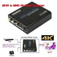 Analog to Digital Composite AV CVBS RCA S Video to HDMI Scaler Converter UHD 4K Upscaler Adapter for 4k HDTV