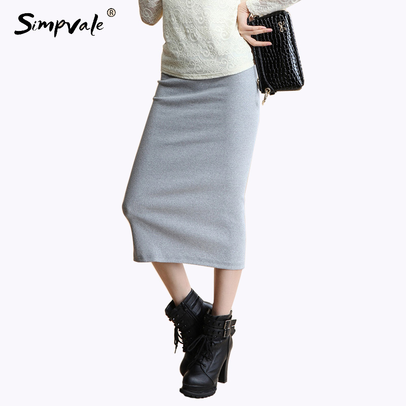 SIMPVALE Women Thick Sexy Chic Pencil Skirts Office Look Natural Waist Mid Calf Solid Skirt Casual