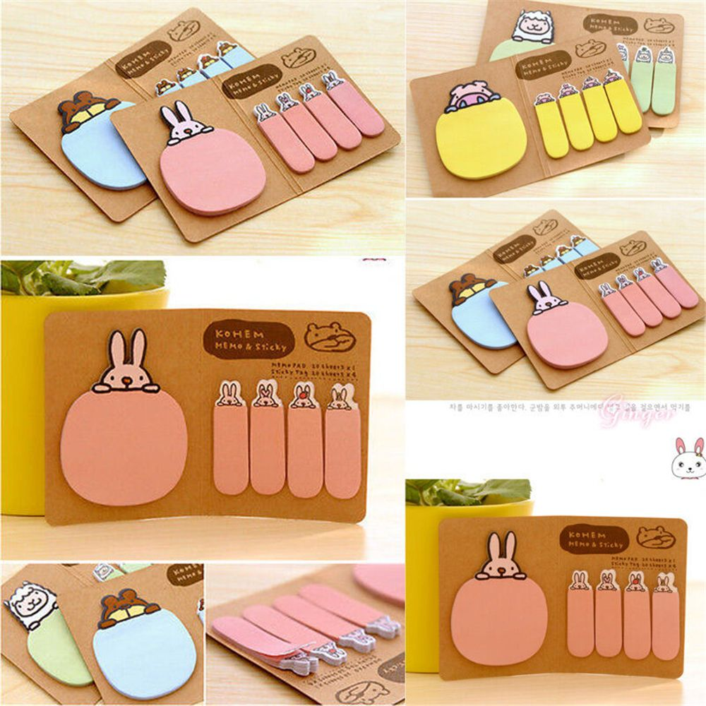 Rabbit Kraft Paper Sticker Paste Bookmark Point Marker Memo Pad Flag Sticky Notes Student Stationary Shool Office Supply