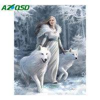 AZQSD 5D DIY Diamond Painting Cross Stitch White Wolf Princess Needlework Diamond Pictures Of Home Decor