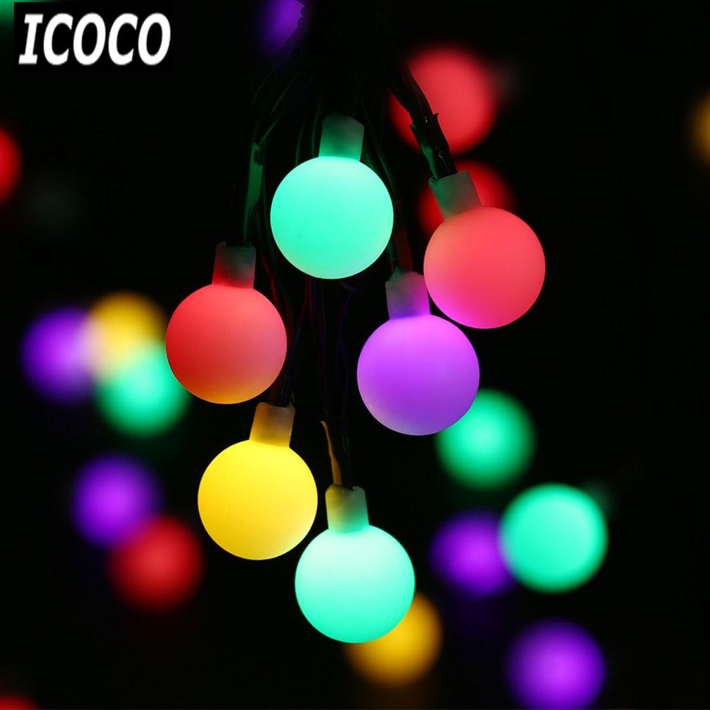 ICOCO 30 LED 4.9m Ball String Light Solar Powered Christmas Light Waterproof Patio Light ...