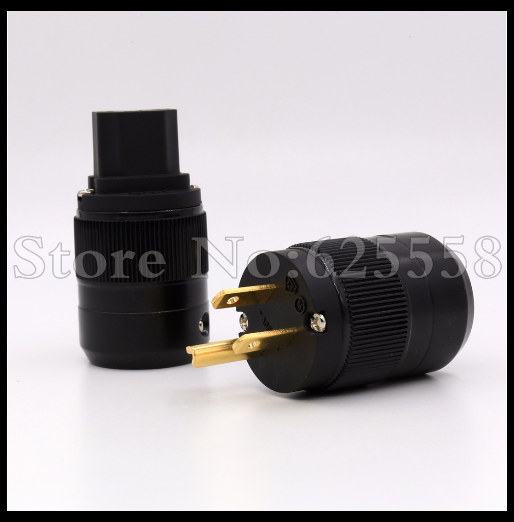 1Pair Gold Plated US Standard  Mains AC Power Cord Inlet Plug Connector  For Hifi audio cable  mps m 6mk2 eu european standard hifi 99 9997% ofc 24k gold plated 3pin power cord cable dvd cd amplifier ac power cable