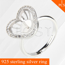 LGSY adjustable 925 sterling silver rings accessories with three-petaled flower shape pearls seats