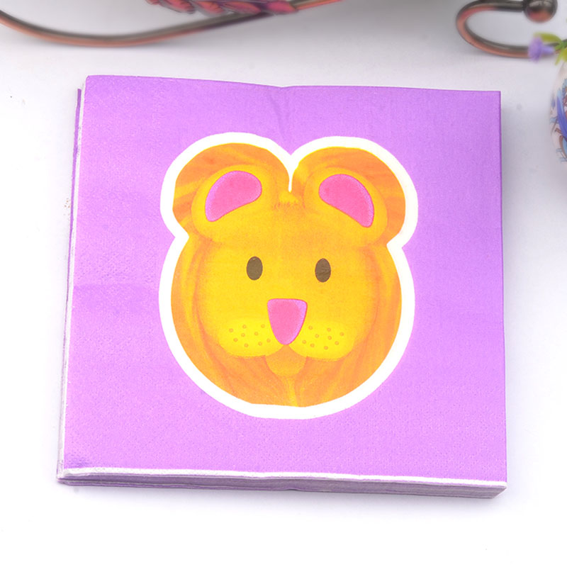 New 20pcs/lot Purple lion napkin Children party cartoon paper Napkin table dinner paper Tissues supplies