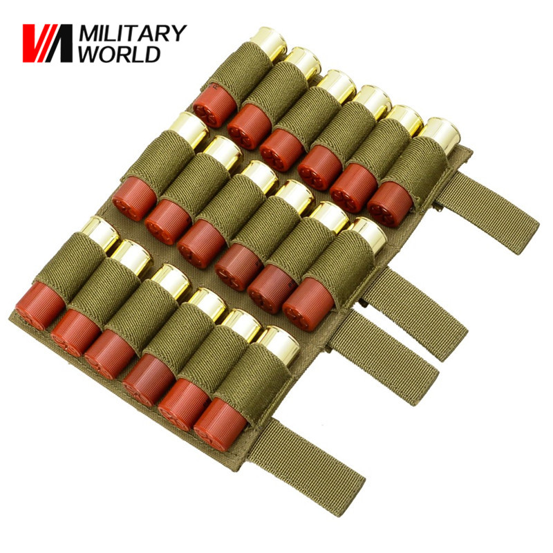 2 pcs/pack Molle 18 Round Shells 12GA Shotgun Rifle Shell Elastic Ammo Buttstock Holder Shooting Hunting Bullet Holster Pouches