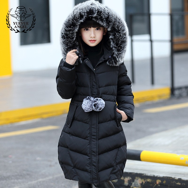Plus Size Girls Winter Outerwear Coat Warm Faux Fur Collar Hoody Long Padded Jacket Kids Parkas Thicken Windproof Travel Parka 2017 fashion winter jacket coat women long thicken down cotton padded faux big fur collar warm female outwear parkas woman