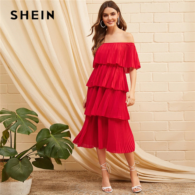 ac005a5dee SHEIN Foldover Front Off Shoulder Layered Pleated Dress Red Solid Ruffle  High Waist Women Dresses Glamorous Summer Dress