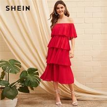 SHEIN 折り返しフロントオフショルダーレイヤードプリーツドレス固体フリルハイウエスト女性ドレスグラマラス夏ドレス