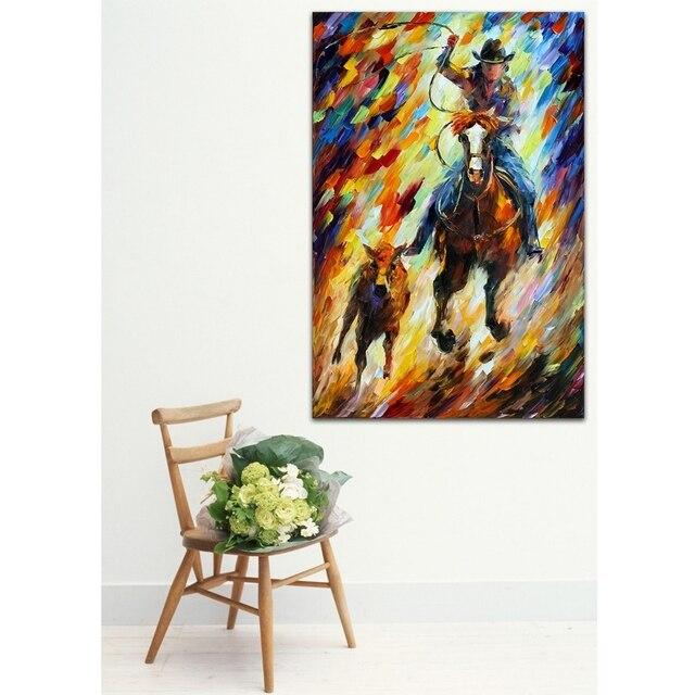 Rodeo La Chase Cowboy Photo Toile Palette Couteau Peinture À L'Huile
