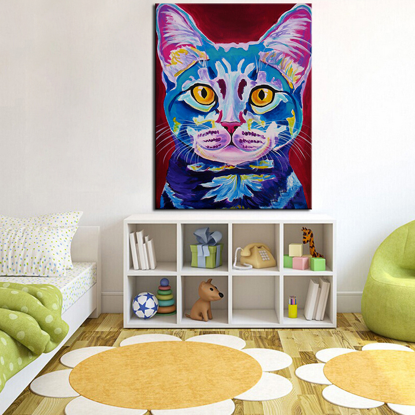 Large size Print Oil Painting Wall painting cat--mystery-reboot Home Decorative Art Picture For Living Room paintng No Frame