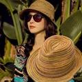 2017 Sombreros de Las Mujeres Del Verano Sombrero De Paja De Colores Sombreros de Sun Sombrero Del Jazz Casquillo de la Playa para Las Niñas chapeu feminino