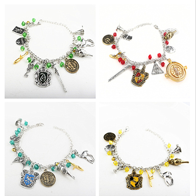 Fashion Time turner Horcrux wristlet Bracelets Deathly Hallows Stone Dark Mark Sorting Hat men and women Trinket