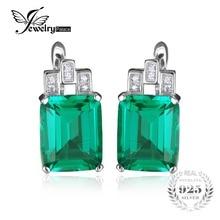 JewelryPalace Lujo 7.6ct Verde Creado Nano Ruso Esmeralda Pura Plata Esterlina 925 Clip En Los Pendientes de Joyería de Moda de Regalo