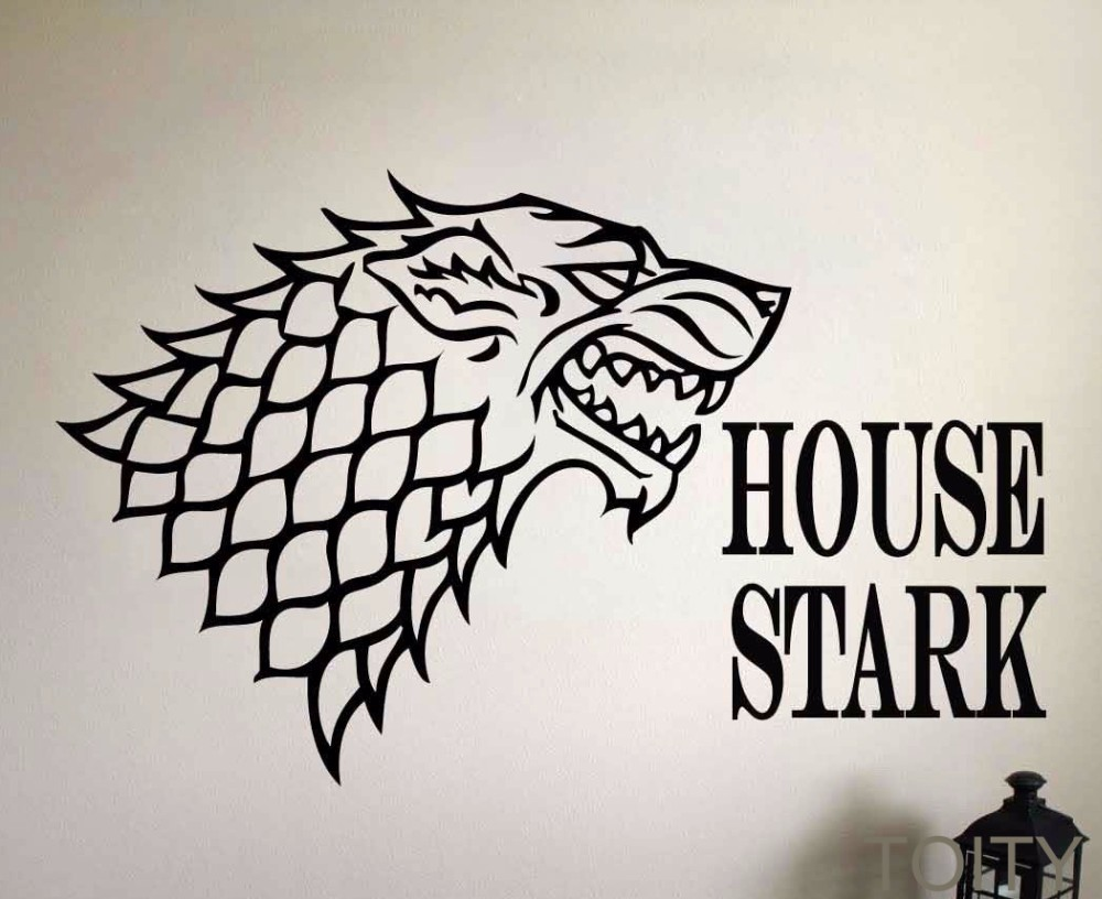 Game of thrones sticker mural des sceaux de maison de stark vinyle decal film art décor