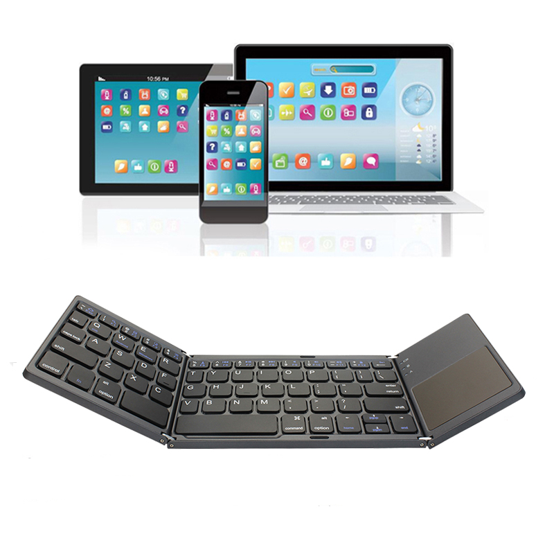 Ultra Thin Mini Bluetooth 3.0 Foldable Keyboard Keyboard Wireless Folding BT With Touchpad Keyboard For Tablet PC Laptop iPad ipad Mobil Telefon