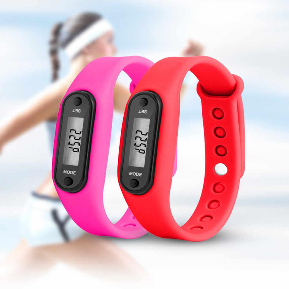 שלב הפעלת שעון צמיד מד צעדים קלוריות דלפק דיגיטלי LCD הליכה מרחק אלקטרוני שעון דיגיטלי שעון אופנה gif גברים של