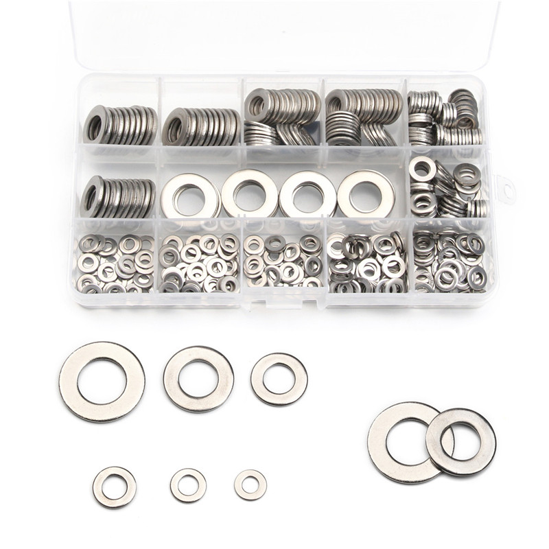 6Sizes 304 Stainless Steel Gasket M4/M5/M6/M8/M10/M12 Flat Machine Washer Plain Washer Kit 395PCS For Hardware Accessories 5pcs 304 stainless steel capillary tube 3mm od 2mm id 250mm length silver for hardware accessories