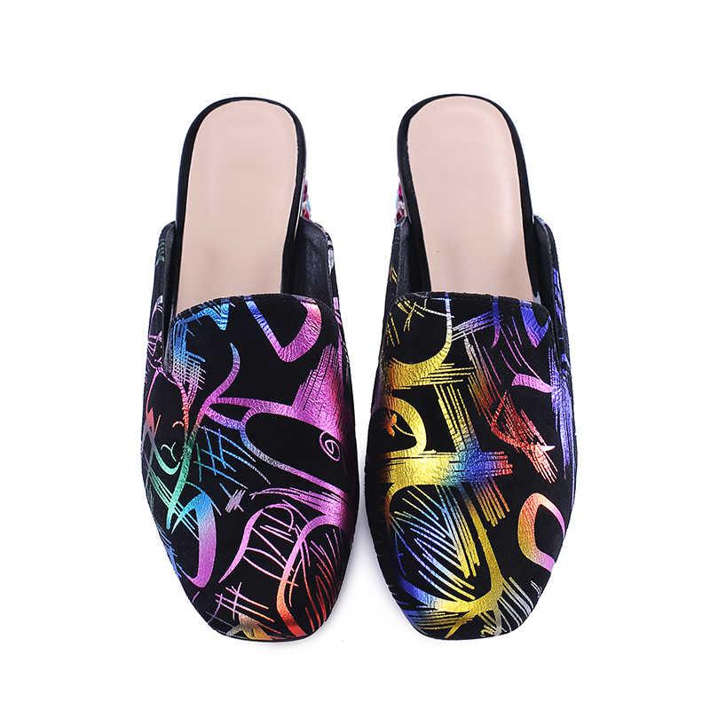 BEIJO Molhado Cristal mulher De Salto Alto slides 2019 chinelos De Verão Mulas sapatos De Casamento sapatos De Couro genuíno Do Sexo Feminino Retro Imprimir étnico