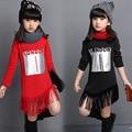 Adolescente Niñas Ropa Forrada de Piel de Invierno Ropa para Niños Gilrs de manga Larga Franja Suéter Superior