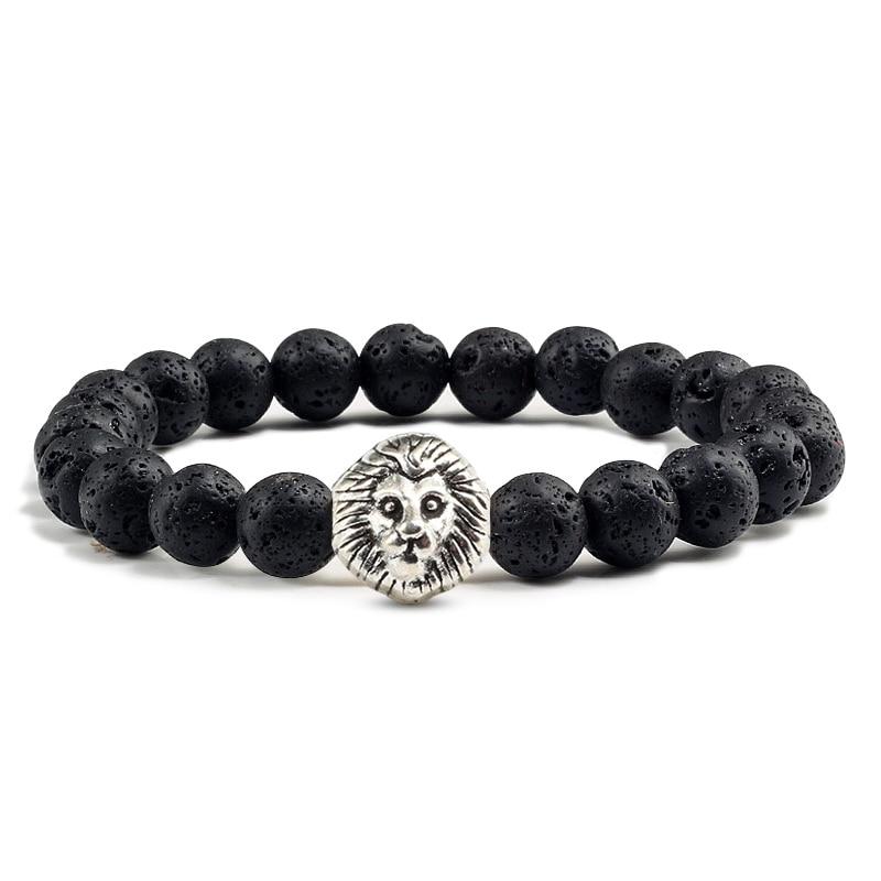 Multi style silver Lion Head Bracelet Natural Stone Buddha Beads Distance Bracelets Man Women Bangles Charm Yoga Animals Jewelry