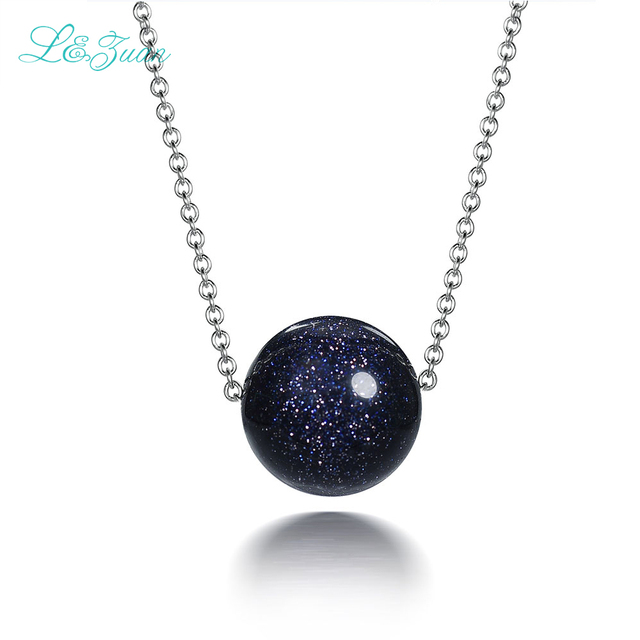 I&zuan 925 Sterling Silver Jewelry Necklace Trendest Style Dark Blue Bead Pendant Clavicular Necklace Fine Jewelry