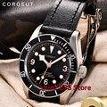 Мужские автоматические механические часы Corgeut  армейские спортивные часы для плавания  кожаные механические наручные часы